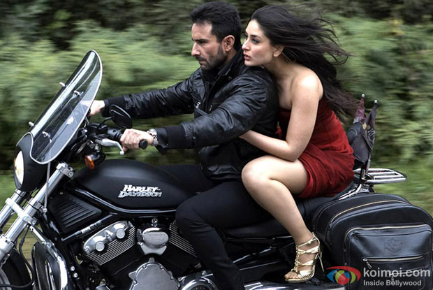 Saif Ali Khan and Kareena Kapoor in a still from Agent Vinod Movie