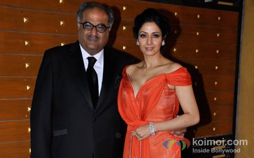 Boney Kapoor And Sridevi At Walk The Red Carpet Of Filmfare Awards 2013