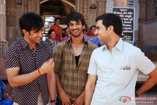 Amit Sadh, Sushant Singh Rajput and Raj Kumar Yadav in a still from Kai Po Che Movie
