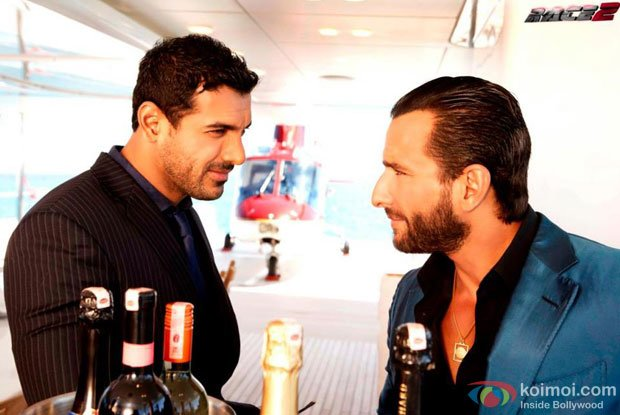 John Abraham and Saif Ali Khan in a still from Race 2 Movie