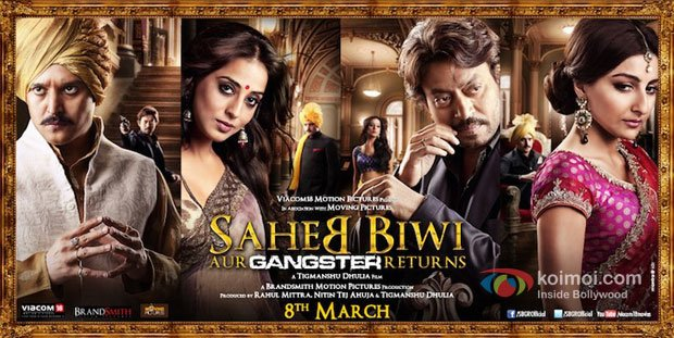 Jimmy Shergill, Mahie Gill, Irrfan Khan and Soha Ali Khan starring Saheb Biwi Aur Gangster Returns Movie First Look Poster