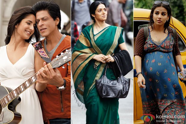 Shah Rukh Khan-Katrina Kaif (Jab Tak Hai Jaan Movie Stills), Sridevi (English Vinglish Movie Stills) and Vidya Balan (Kahaani Movie Stills))