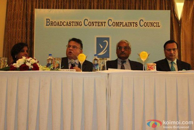 Broadcasting Content Complaints Council (BCCC) chair Justice (Retd.) A.P. Shah and other members at a conference.