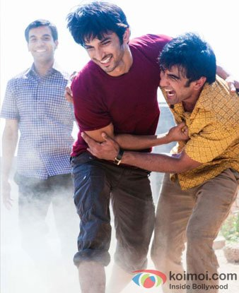 Raj Kumar Yadav, Sushant Singh Rajput and Amit Sadh from Kai Po Che Movie