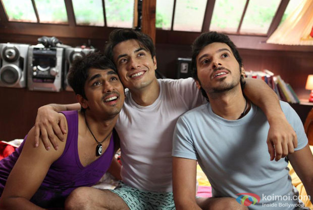 Siddharth, Ali Zafar and Divyendu Sharma in a still from Chashme Baddoor Movie