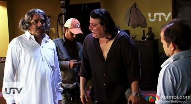 Paresh Rawal and Sajid Khan on the sets of Himmatwala Movie