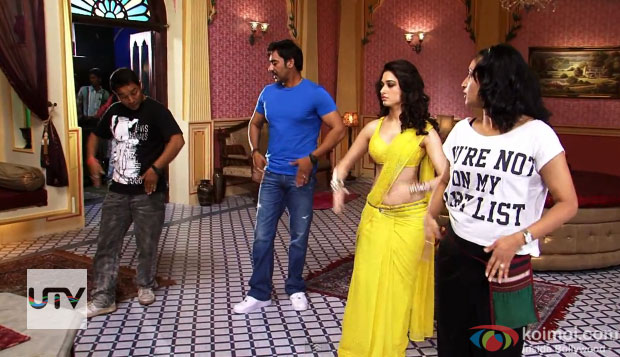Ajay Devgn and Tamannaah on the sets of Himmatwala Movie