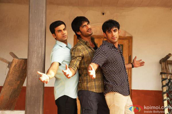 Raj Kumar Yadav, Sushant Singh Rajput, and Amit Sadh in Shubhaarambh Song in Kai Po Che Movie Stills