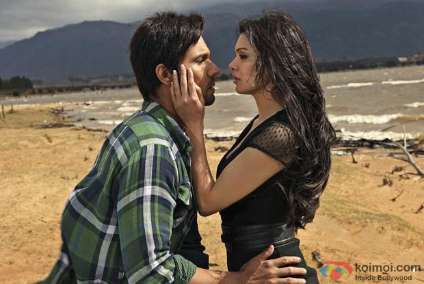 Randeep Hooda and Sara Loren/Mona Laizza in a still from Murder 3 Movie