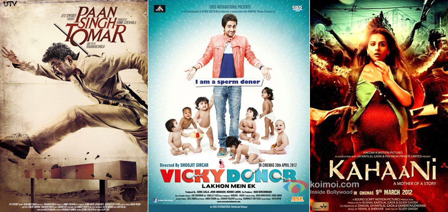 Paan Singh Tomar, Vicky Donor and Kahaani Movie Poster