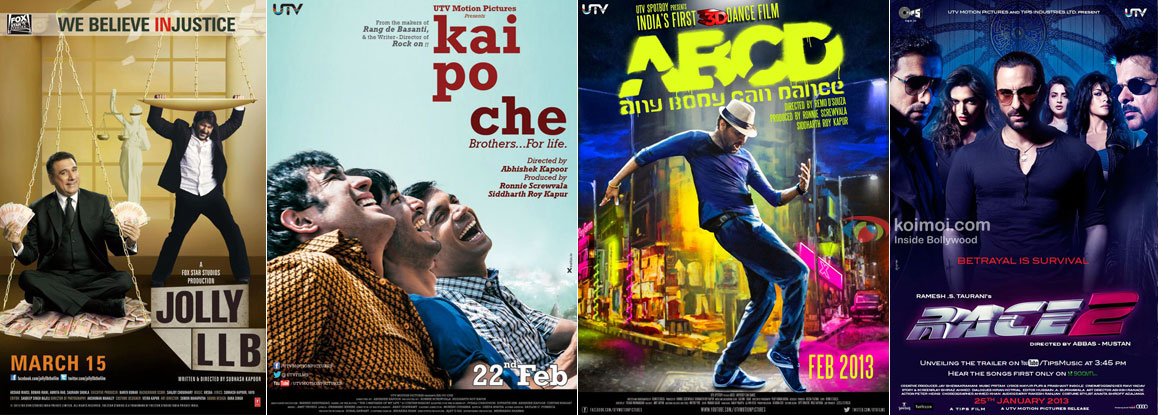 Jolly LLB, Kai Po Che, ABCD - Any Body Can Dance and Race 2 Movie Poster