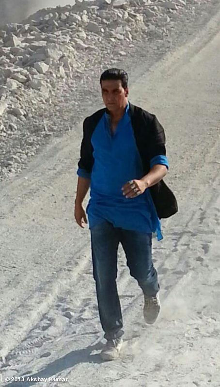 Akshay Kumar on the sets of 'Boss'