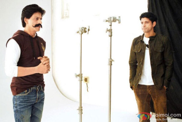 Shah Rukh Khan and Farhan Akhtar on the sets of Mard