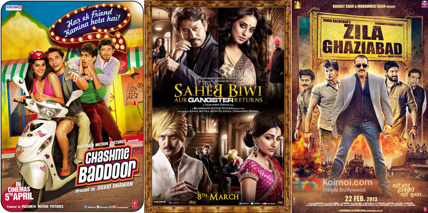 Chashme Baddoor, Saheb Biwi Aur Gangster Returns and Zila Ghaziabad Movie Poster
