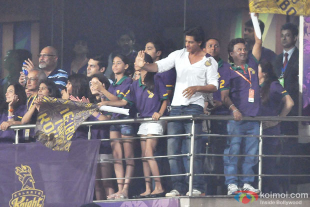 Shah Rukh Khan and his team members celebrating the team's performance during the match between KKR and DD at Eden Gardens in Kolkata