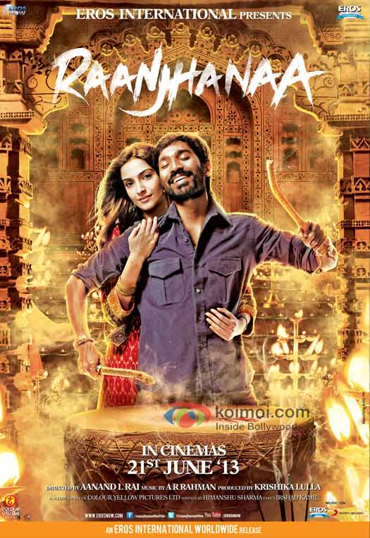 Sonam Kapoor And Dhanush In Raanjhanaa Movie Poster