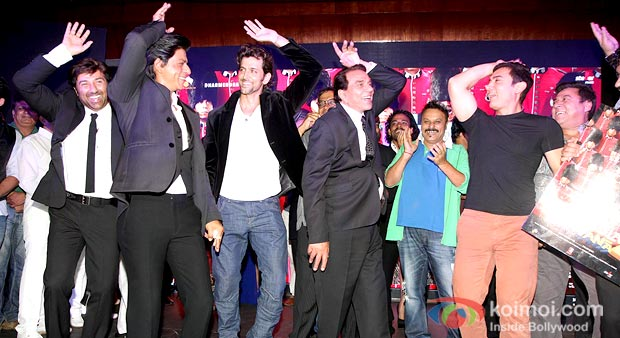 Sunny Deol, Shah Rukh Khan, Hrithik Roshan, Dharamendra And Aamir Khan at Yamla Pagla Deewana 2 Music Launch