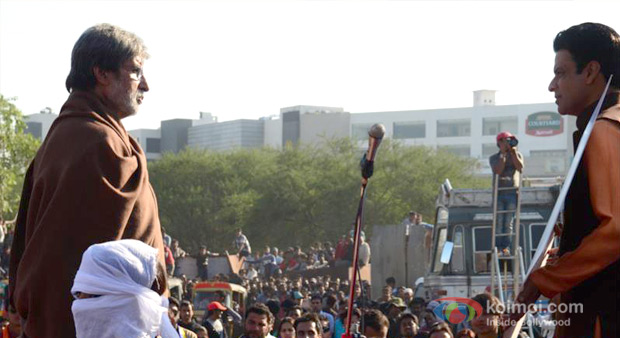 Amitabh Bachchan And Manoj Bajpai in Satyagraha Movie Stills