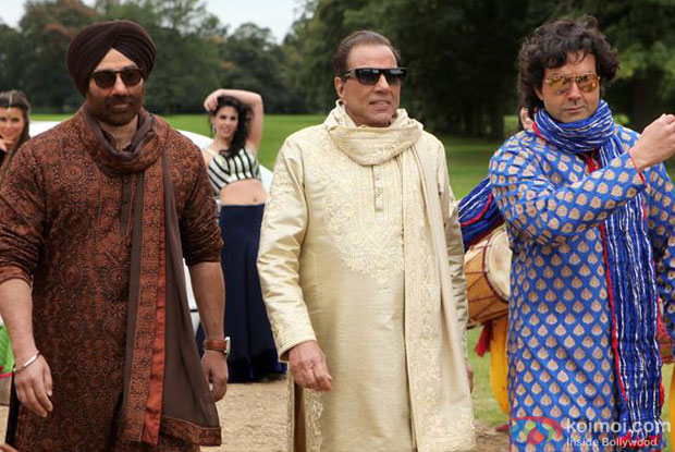 Sunny Deol, Dharmendra and Bobby Deol in a still from Yamla Pagla Deewana 2