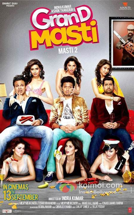 Vivek Oberoi, Ritesh Deshmukh And Aftab Shivdasani in Grand Masti Movie Poster