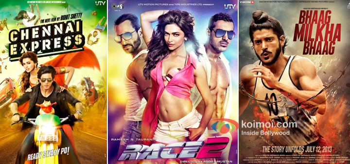 Chennai Express, Race 2 And Bhaag Milkha Bhaag Movie Posters