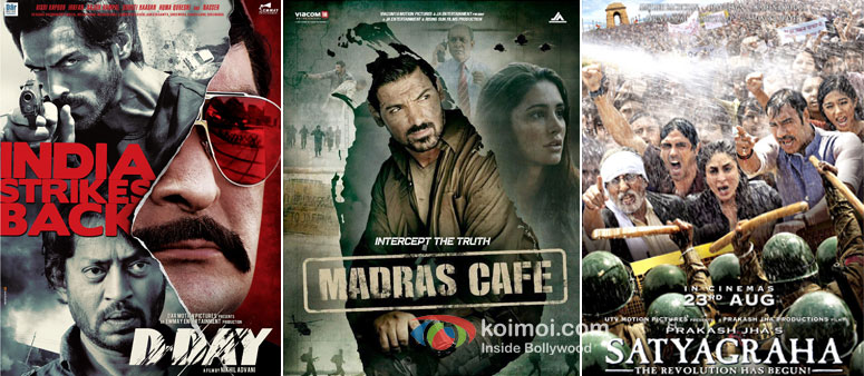 D-Day, Madras Cafe And Satyagraha Movie Poster