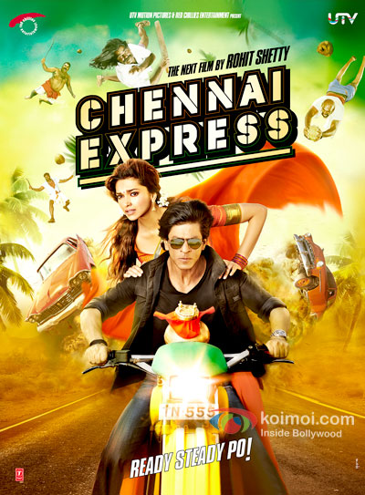 Deepika Padukone And Shah Rukh Khan in Chennai Express Movie Poster