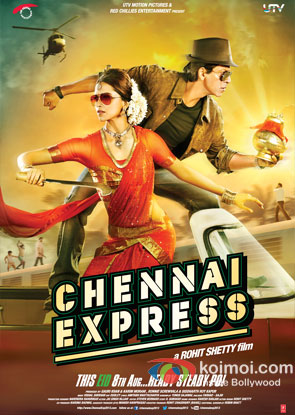 Deepika Padukone And Shah Rukh Khan in Chennai Express Movie Review (Deepika Padukone And Shah Rukh Khan in Chennai Express Movie Poster)