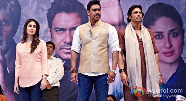Kareena Kapooor Ajay Devgn And Arjun Rampal in Satyagraha Movie Stills