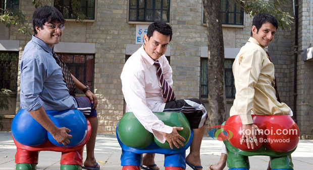 R.Madhavan, Aamir Khan And Sharman Joshi in 3 Idiots Movie Stills