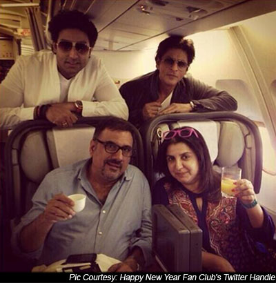 Abhishek Bachchan, Shah Rukh Khan, Boman Irani And Farah Khan On the Sets Of Happy New Year