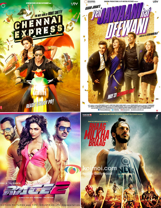 Chennai Express, Yeh Jawaani Hai Deewani, Race 2 And Bhaag Milkha Bhaag Movie Posters