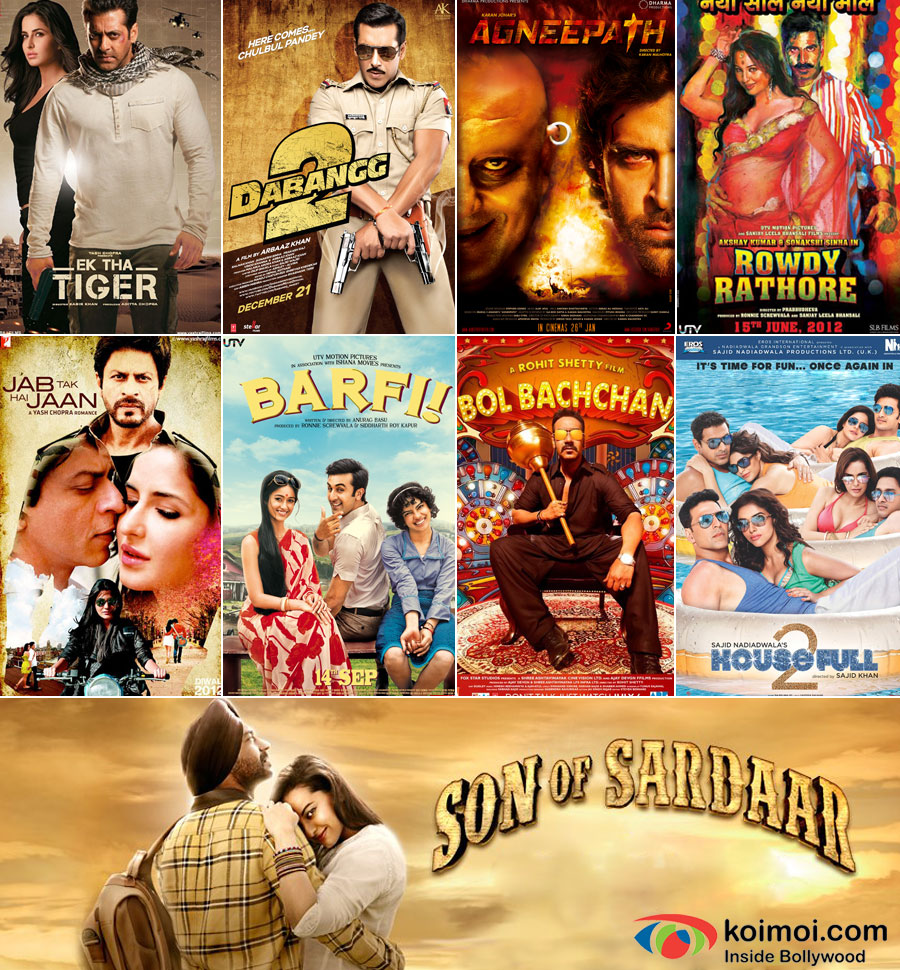 Ek Tha Tiger, Dabangg 2, Agneepath, Rowdy Rathore, Jab Tak Hai Jaan, Barfi!, Bol Bachchan, Housefull 2 And Son Of Sardar Movie Posters