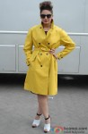Huma Qureshi Snapped In A Yellow Overcoat