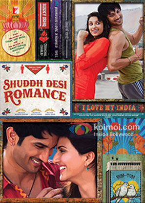 Parineeti Chopra, Sushant Singh Rajput And Vaani Kapoor in Shuddh Desi Romance Movie Review (Parineeti Chopra, Sushant Singh Rajput And Vaani Kapoor in Shuddh Desi Romance Movie Poster)