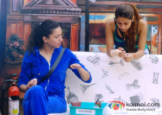Gauhar Khan And Pratyusha Banerjee in Bigg Boss 7