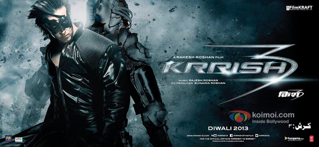 Hrithik Roshan in a Krrish 3 Movie Poster