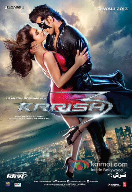 Priyanka Chopra And Hrithik Roshan in Krrish 3 Movie Poster