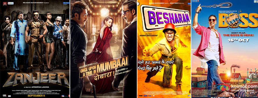 Zanjeer, Once Upon A Time In Mumbaai Dobaara!, Besharam and Boss movie poster