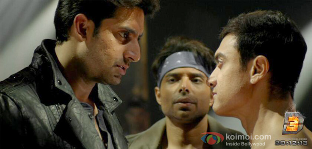 Abhishek Bachchan, Uday Chopra and Aamir Khan in still from Dhoom:3