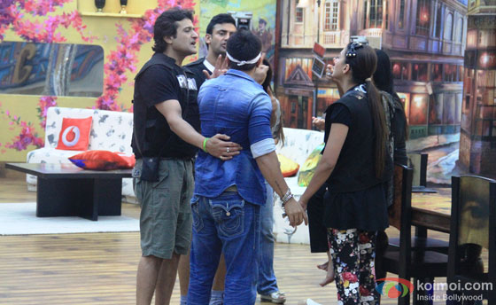 Ajaz Khan, Armaan Kohli, Sangram Singh and Gauhar Khan in Bigg Boss 7