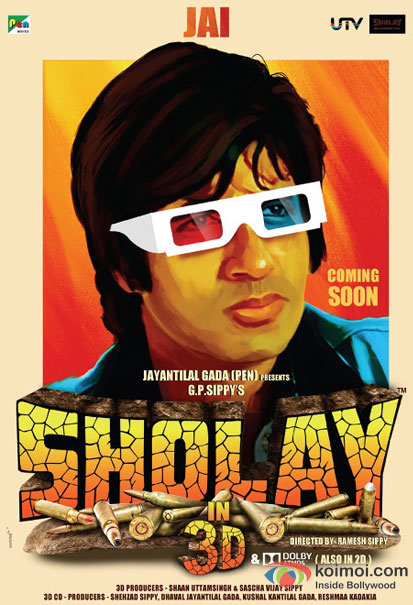 Amitabh Bachchan in a Sholay 3D movie poster