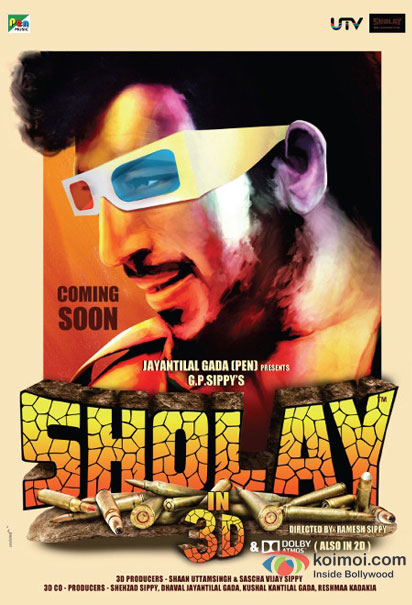 Amjad Khan in a Sholay 3D movie poster
