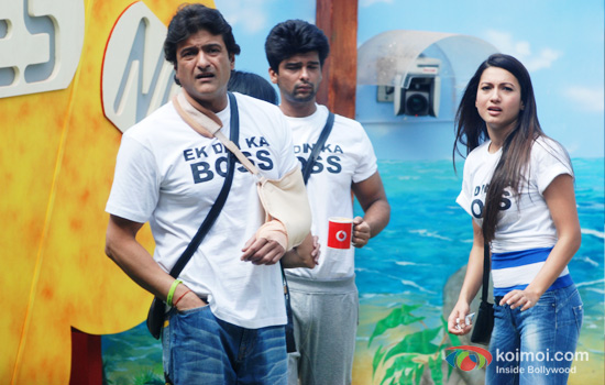 Armaan Kohli, Kushal Tandon and Gauhar Khan in Bigg Boss 7
