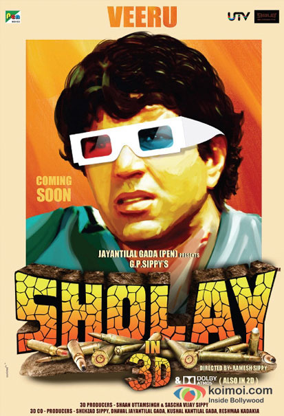 Dharmendra in a Sholay 3D movie poster