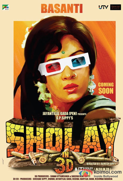 Hema Malini in a Sholay 3D movie poster