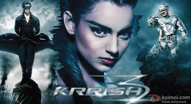 Hrithik Roshan, Kangana Ranaut and Vivek Oberoi in Krrish 3