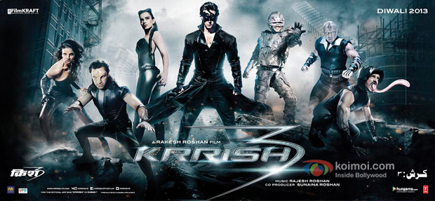 Kangana Ranaut, Hrithik Roshan and Vivek Oberoi in a Krrish 3