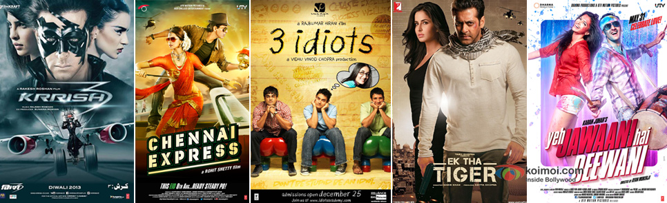 Krrish 3, Chennai Express, 3 Idiots, Ek Tha Tiger and Yeh Jawaani Hai Deewani Movie's Posters