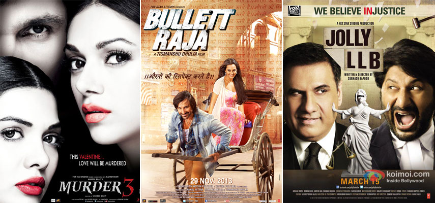 Murder 3, Bullett Raja and Jolly LLB  Movie Poster